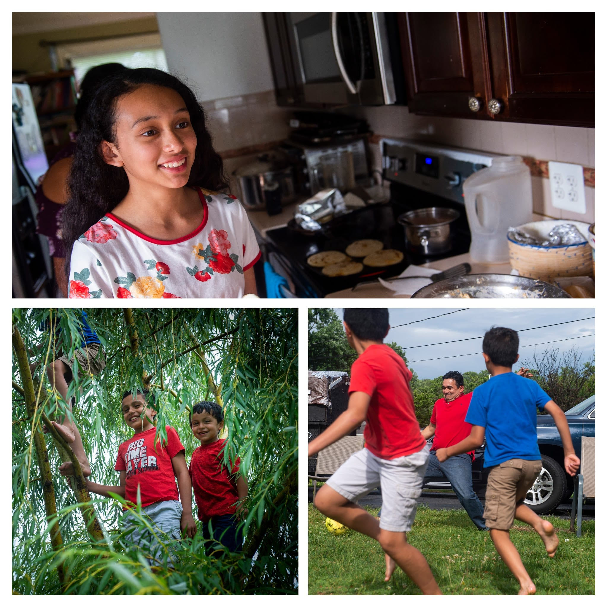 Collage of three photos - boys climbing a tree, Herbert playing soccer with 2 of his sons, and daughter smiling in the kitchen